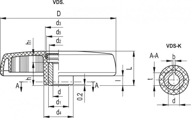 Koła ręczne pełne VDS. - rysunek techniczny