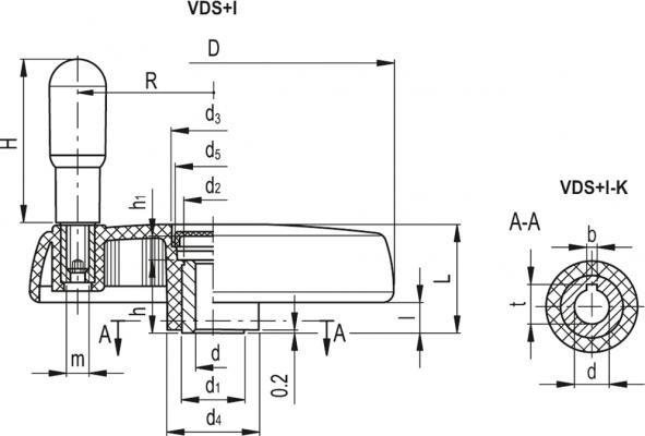 Koła ręczne pełne z rękojeścią obrotową na obrzeżu VDS+I - rysunek techniczny