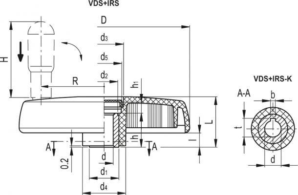 Koła ręczne pełne z rękojeścią obrotową składaną bezpieczną VDS+IRS - rysunek techniczny