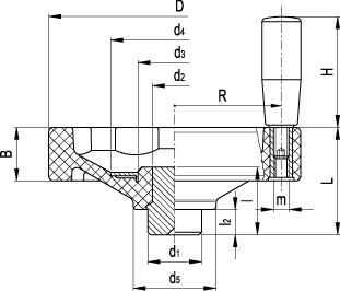 Koła ręczne pełne z rękojeścią na obrzeżu VDO.FP+I - rysunek techniczny