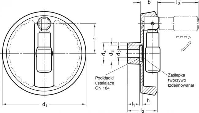 Koła ręczne pełne z rękojeścią obrotową składaną bezpieczną GN 923.7 - rysunek techniczny