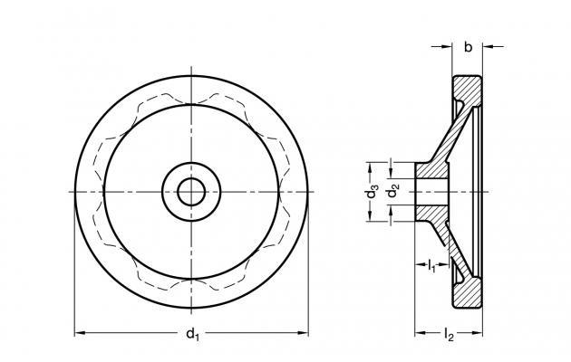 Koło ręczne pełne GN 323-100-B12-A - rysunek techniczny