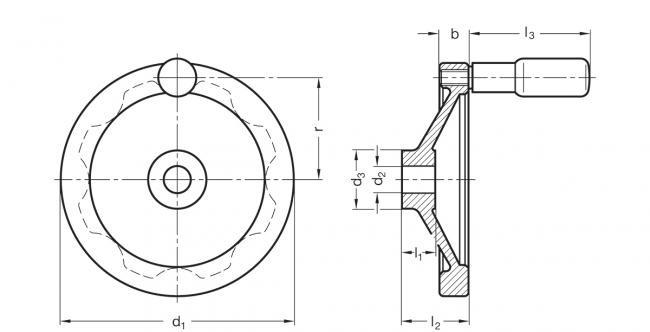 Koła ręczne pełne z rękojeścią na obrzeżu GN 323-R - rysunek techniczny
