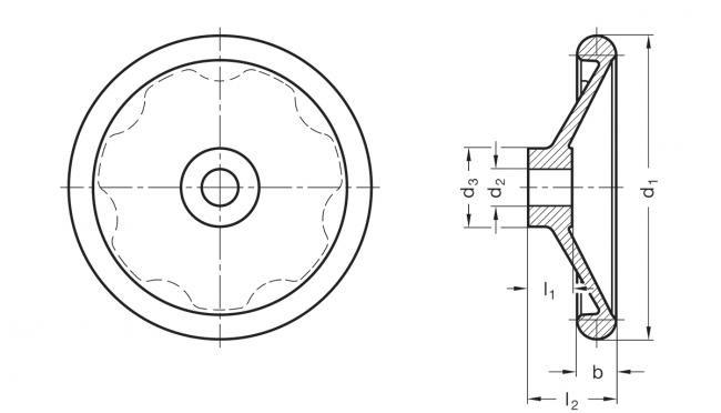 Koła ręczne pełne DIN 3670 - rysunek techniczny