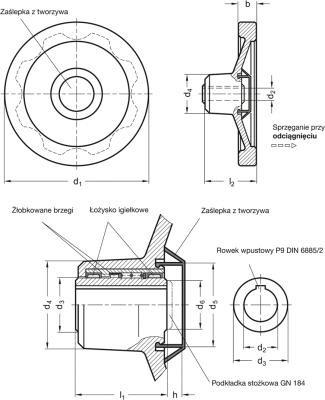 Koła ręczne pełne bezpieczne GN 321.6-A - rysunek techniczny
