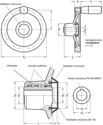 Koła ręczne pełne bezpieczne z rękojeścią na obrzeżu GN 321.6-D - rysunek techniczny