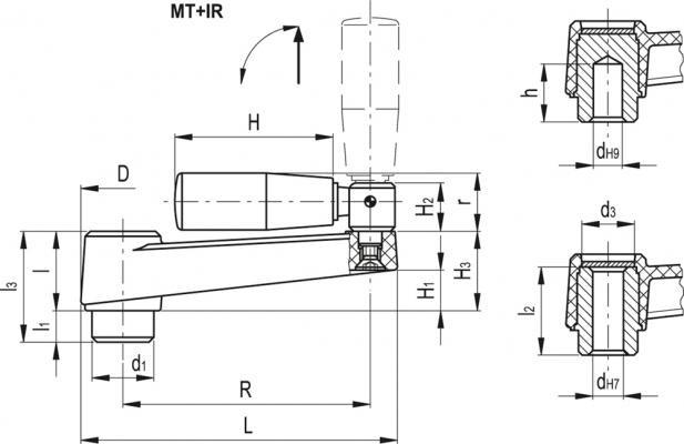 Korba z rękojeścią składaną MT+IR - rysunek techniczny