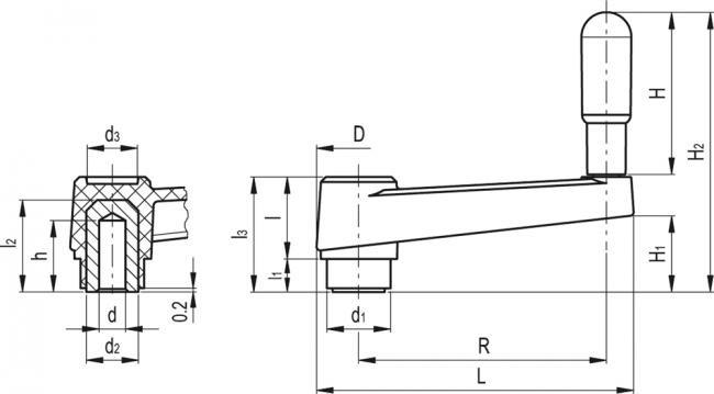 Korby z rękojeścią obrotową MT-AT - rysunek techniczny