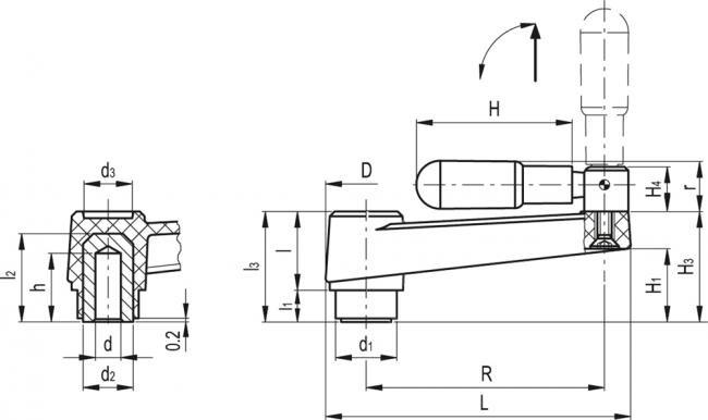 Korby z rękojeścią składaną MT-AT+IR - rysunek techniczny