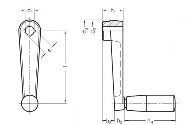 Korby z rękojeścią obrotową GN 471 GN 471.1 - rysunek techniczny