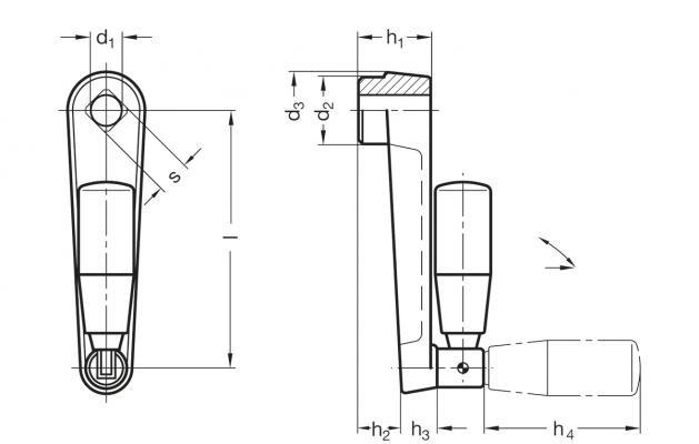 Korby z rękojeścią składaną GN 471.3 - rysunek techniczny