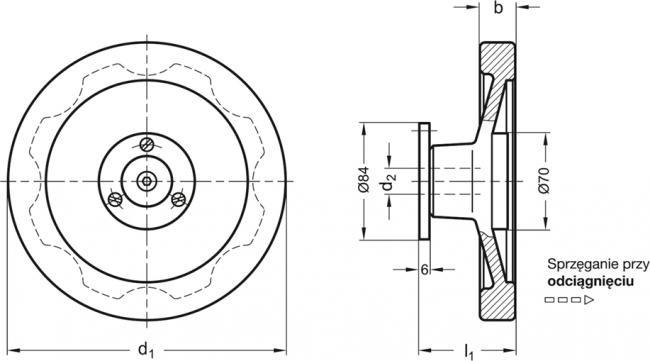 Koła ręczne pełne bezpieczne GN 327-A - rysunek techniczny