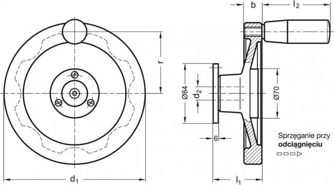 Koła ręczne pełne bezpieczne z rękojeścią obrotową GN 327-D - rysunek techniczny