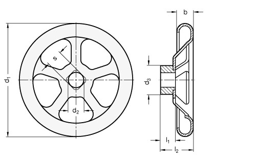 Koła ręczne wieloramienne tłoczone GN 227.4 - rysunek techniczny