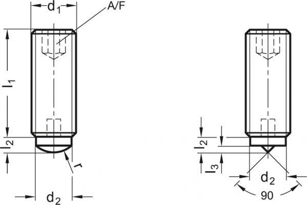 Wkręty dociskowe GN 913.2 - rysunek techniczny