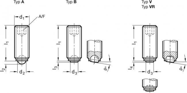 Wkręty dociskowe z kulką GN 605 - rysunek techniczny