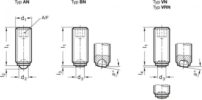 Wkręty dociskowe z kulką GN 605-NI - rysunek techniczny