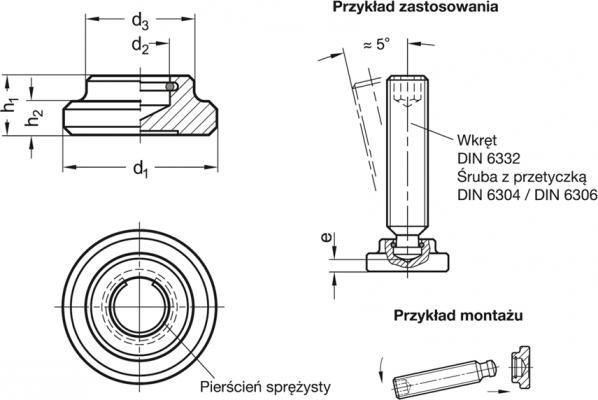 Stopki dociskowe DIN 6311 - rysunek techniczny
