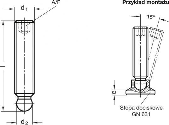 Wkręty dociskowe GN 632.5 - rysunek techniczny