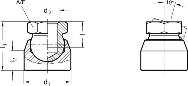 Dociski przegubowe z gniazdem gwintowanym GN 346 - rysunek techniczny