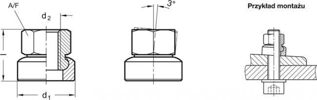 Nakrętki sześciokątne przegubowe GN 347 - rysunek techniczny