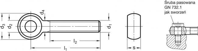 Śruba oczkowa GN 1524-M16-100 - rysunek techniczny