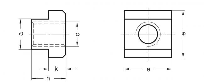 Nakrętki teowe DIN 508-NI - rysunek techniczny