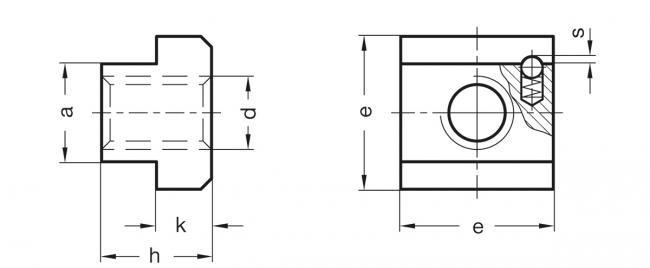 Nakrętki teowe GN 508.2 - rysunek techniczny