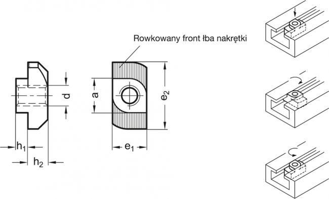 Nakrętki teowe GN 505 - rysunek techniczny