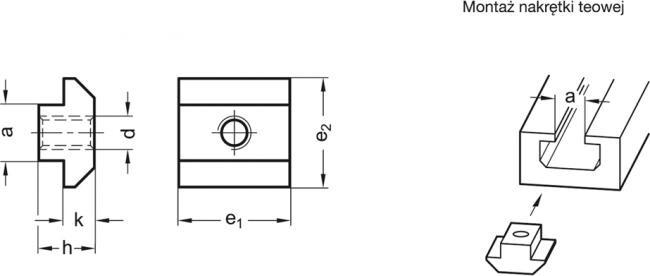 Nakrętka teowa GN 507-8-M4 - rysunek techniczny