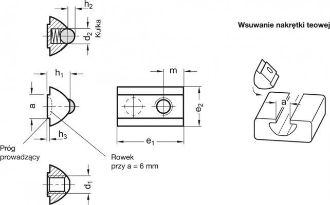 Nakrętki do rowków teowych GN 506 - rysunek techniczny