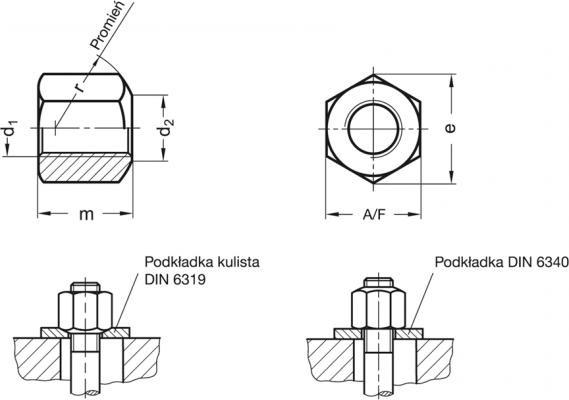 Nakrętki sześciokątne DIN 6330 - rysunek techniczny