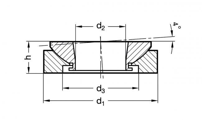Podkładki wahliwe GN 350.3-NI - rysunek techniczny