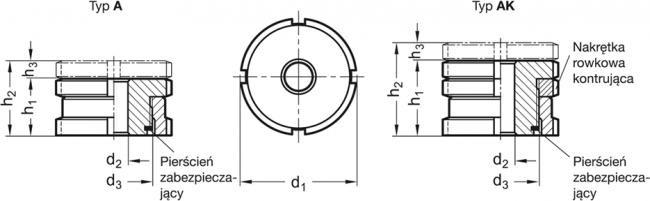 Moduły pozycjonujące GN 350.1-NI - rysunek techniczny