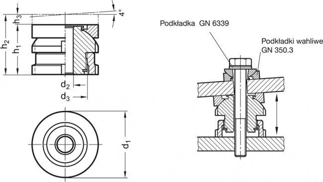 Moduły pozycjonujące GN 350.2 - rysunek techniczny