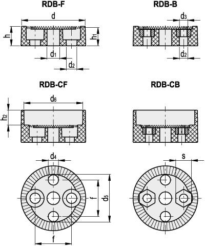Pierścienie pozycjonujące RDB - rysunek techniczny