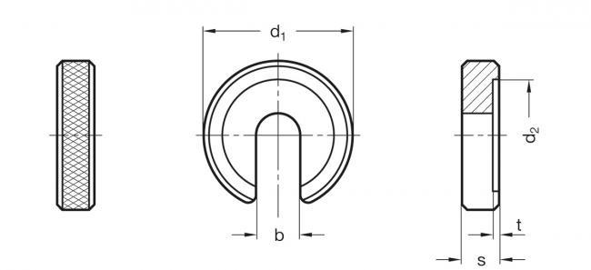 Podkładki wsuwane GN 183 - rysunek techniczny