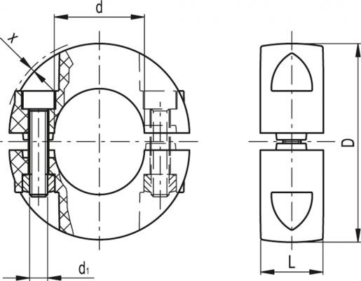 Pierścienie osadcze rozcięte dwuczęściowe ANPS - rysunek techniczny