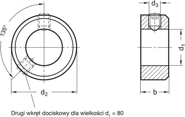 Pierścień osadczy GN 705-8-E-NI - rysunek techniczny