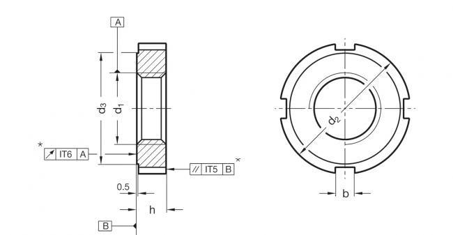 Nakrętki rowkowe DIN 1804 - rysunek techniczny