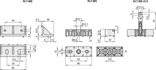 Uchwyty i wsporniki RLT-M - rysunek techniczny