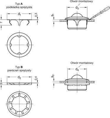 Pierścienie i podkładki sprężyste do kul transportowych GN 509.3 - rysunek techniczny