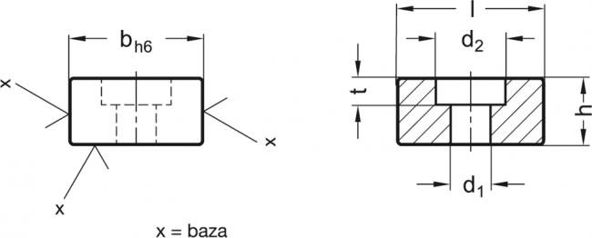 Płytki teowe GN 230 - rysunek techniczny