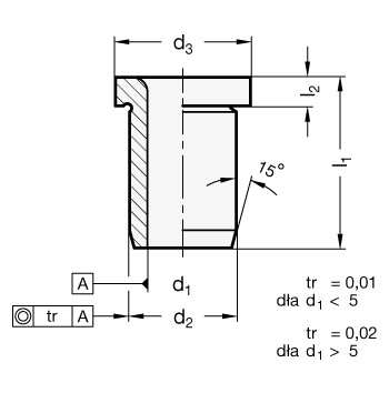 Tuleje pozycjonujące DIN 172 - rysunek techniczny