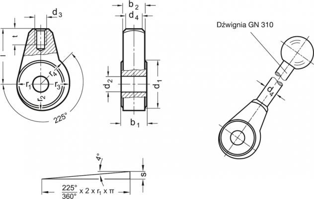 Piasty z mimośrodem GN 919 - rysunek techniczny