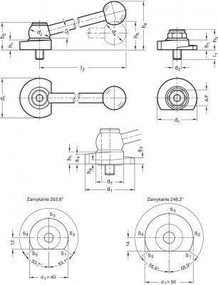 Dźwignie z mimośrodem GN 918.6 - rysunek techniczny