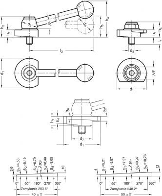 Dźwignie z mimośrodem GN 918.2 - rysunek techniczny