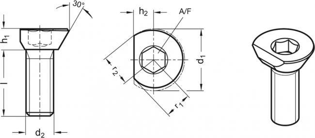 Śruba z krzywką GN 418.2 - rysunek techniczny