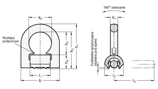 Pierścienie mocujące GN 587 - rysunek techniczny