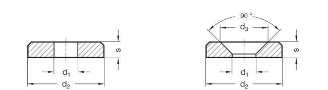 Podkładki GN 6341-NI - rysunek techniczny